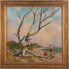 Antique American Modernist Male Beach Bather Large Signed Seascape Oil Painting