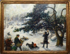 Antique Impressionist WPA Ash Can School Sledding Winter Sports Oil Painting