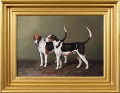 19th Century sporting dog portrait oil painting of two foxhounds