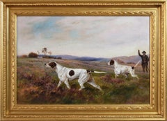 19th Century sporting oil painting of two pointer dogs
