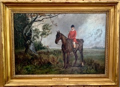 Horse and Huntsman in a landscape, English late 19th century oil on canvas