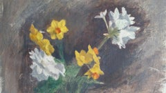 English Vintage Oil Painting on Canvas, Spring Flowers