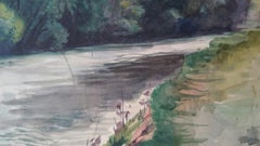 English Watercolour Landscape Painting, River with Overhanging Trees