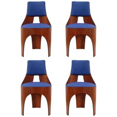 Henry Glass Cylindra Dining Chairs in Maharam Fabric