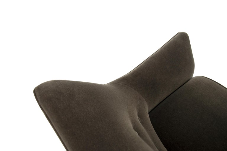 Henry Glass Lounge Chairs in Mohair For Sale 5