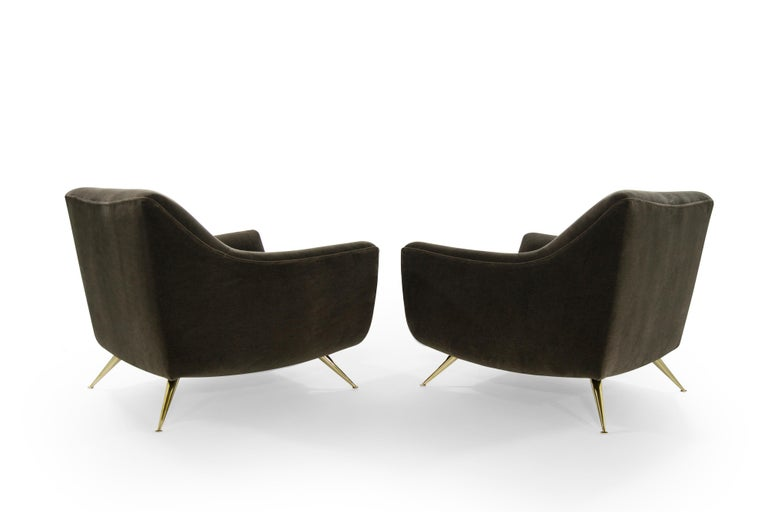 Mid-Century Modern Henry Glass Lounge Chairs in Mohair For Sale