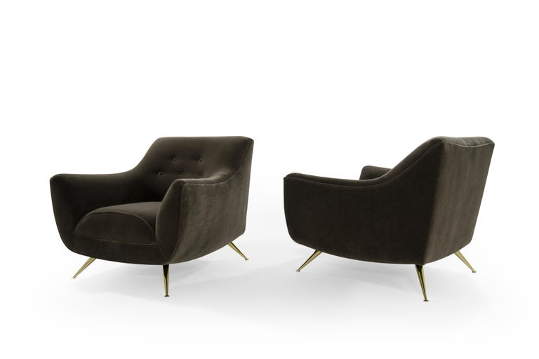 American Henry Glass Lounge Chairs in Mohair For Sale