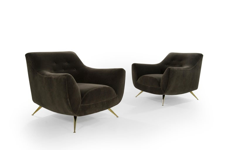 Brass Henry Glass Lounge Chairs in Mohair For Sale