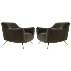 Henry Glass Lounge Chairs in Mohair