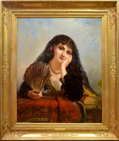 A Spanish Beauty - 19th Century Portrait of Girl with Fan - 1863 Paris Salon