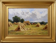 19th Century landscape oil painting of a cornfield in Essex