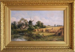 19th Century landscape oil painting of a windmill near a cornfield