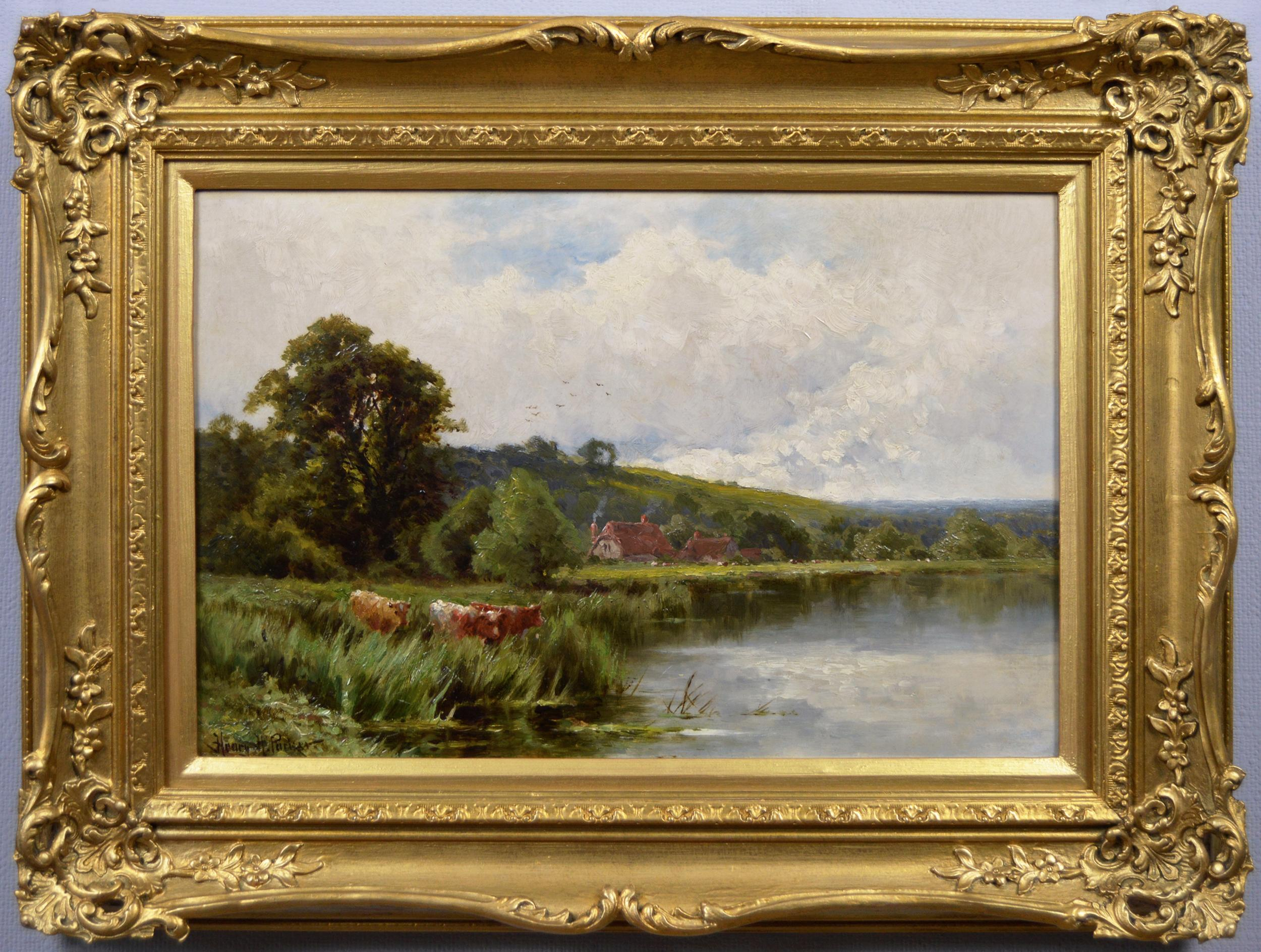 19th Century landscape oil painting of the River Thames at Streatley