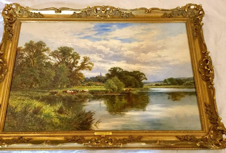 On the River Severn at Bridgnorth An English Landscape 18th / 19th Century  - Painting by Henry H. Parker