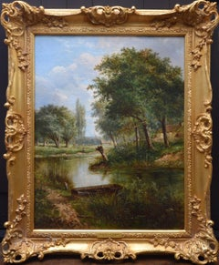 On the Thames nr Dorchester - 19th Century English River Landscape Oil Painting