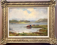 Oil painting of Scottish Highland cattle near a castle, Antique, 19th century