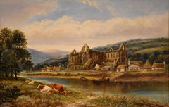 """Oil painting by Henry Harris """"Tintern Abbey"""""""