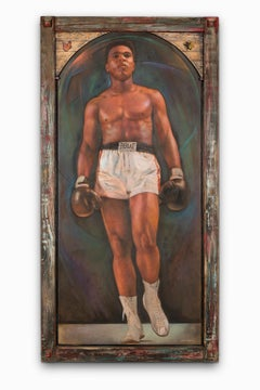 """""""Ali"""" Portrait, Frontal, Monumental, Sculpted Butterfly & Bee, Colors, Oil"""