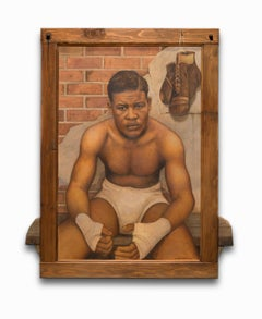 """""""Joe Louis"""" Oil on Board with Mixed Media, Iconic Portrait, African American"""
