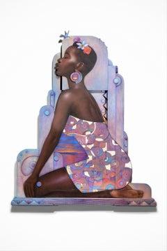 """Queen"" African American Female Portrait, Rich Browns & Lavenders, Sculptural"