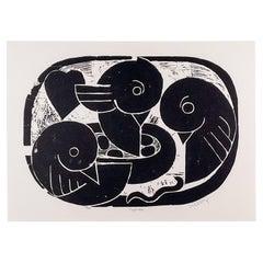 "Henry Heerup, ""Bird's Nest"", 1950, Linocut on Paper, Professionally Framed"