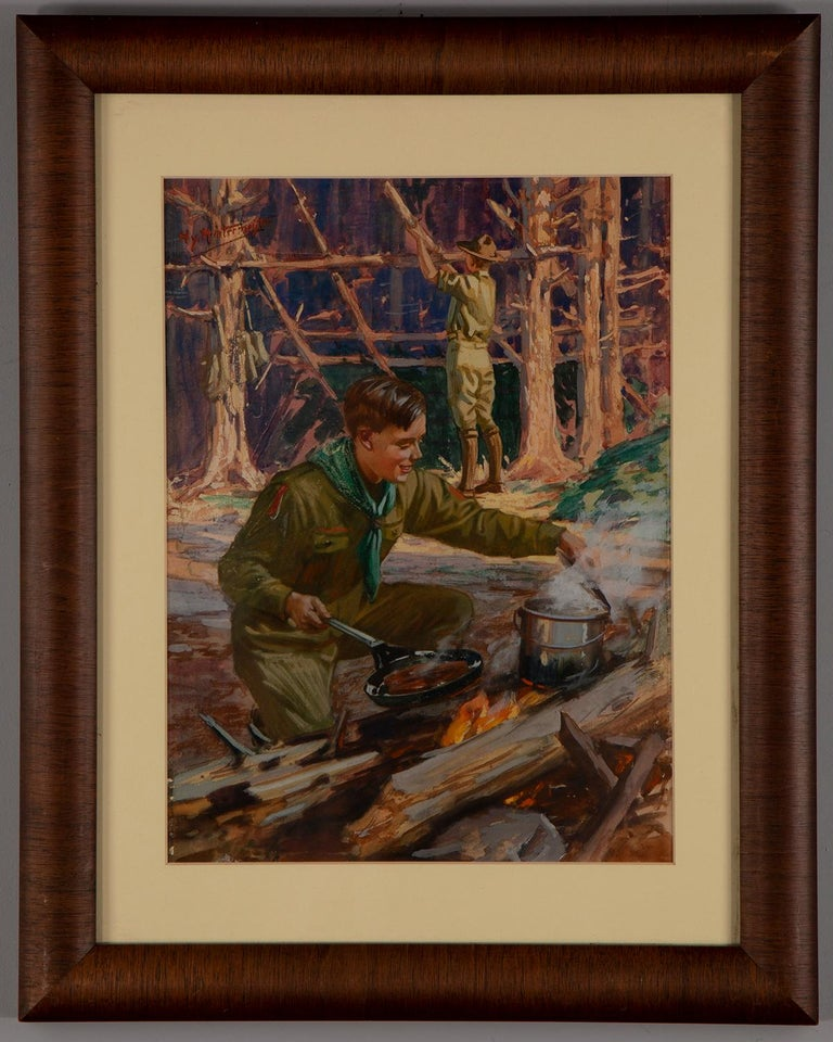 Boy Scouts Camping Scene - Painting by Henry Hintermeister