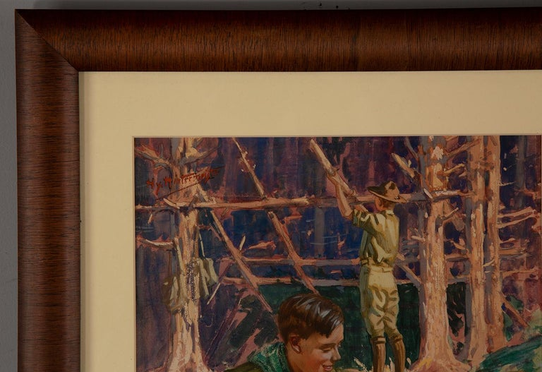 Boy Scouts Camping Scene - Black Figurative Painting by Henry Hintermeister