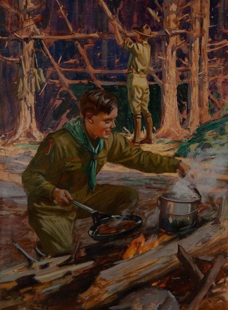 Henry Hintermeister Figurative Painting - Boy Scouts Camping Scene