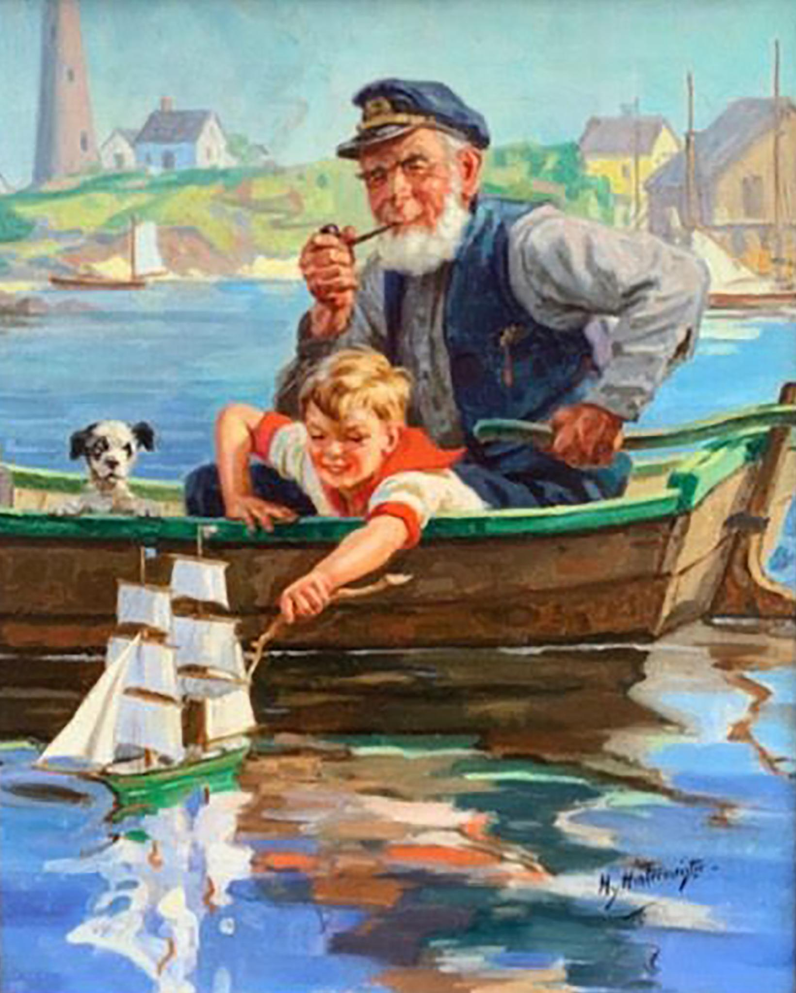 Man and Boy on Boat with Dog