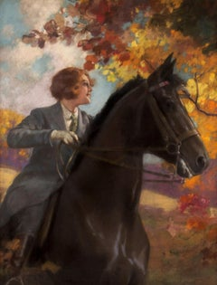 Woman on Horseback in Autumn