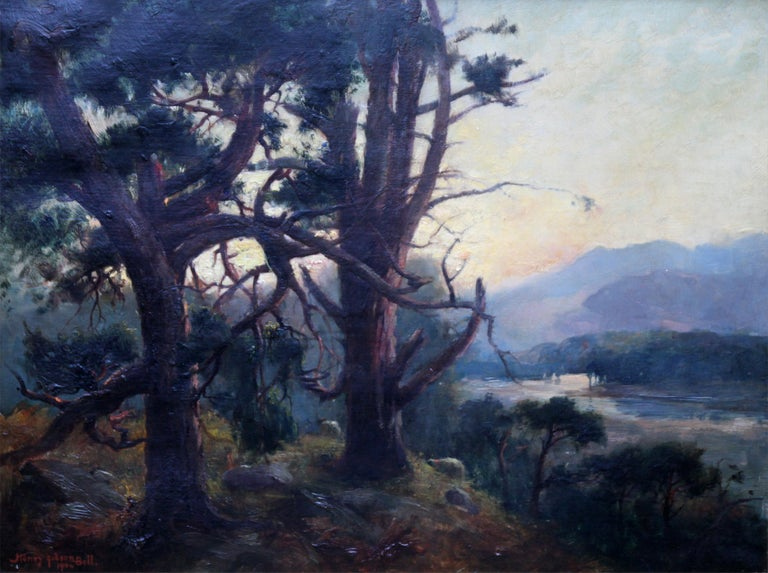 Looking Down From the Woods at Sunset - Scottish Edwardian art oil landscape  - Painting by Henry Jobson Bell