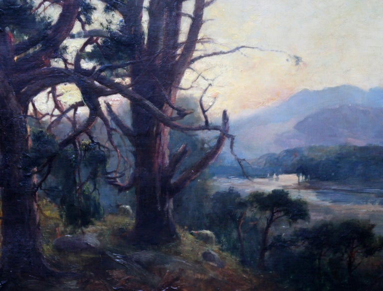Looking Down From the Woods at Sunset - Scottish Edwardian art oil landscape  - Impressionist Painting by Henry Jobson Bell