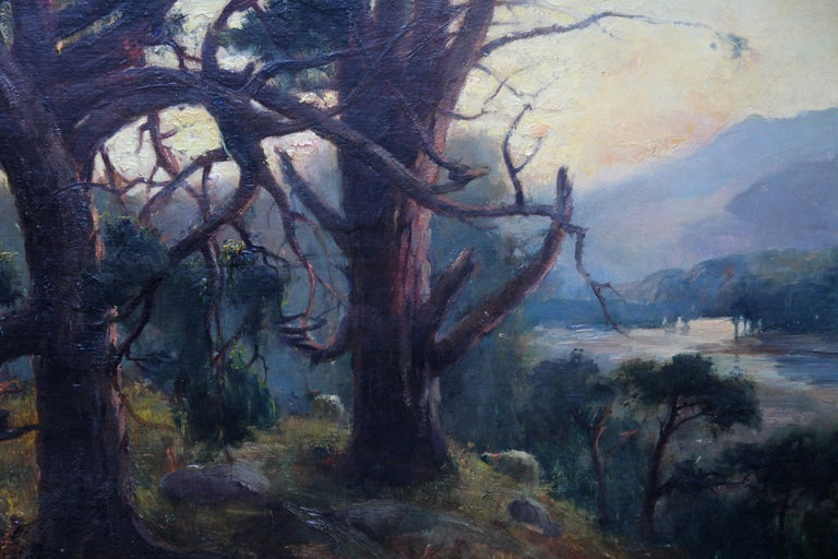 Looking Down From the Woods at Sunset - Scottish Edwardian art oil landscape  For Sale 3