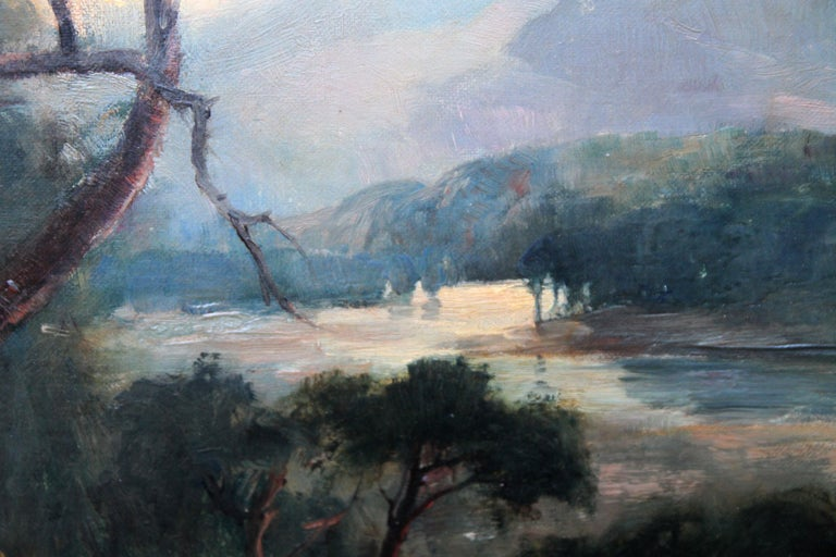 Looking Down From the Woods at Sunset - Scottish Edwardian art oil landscape  For Sale 1