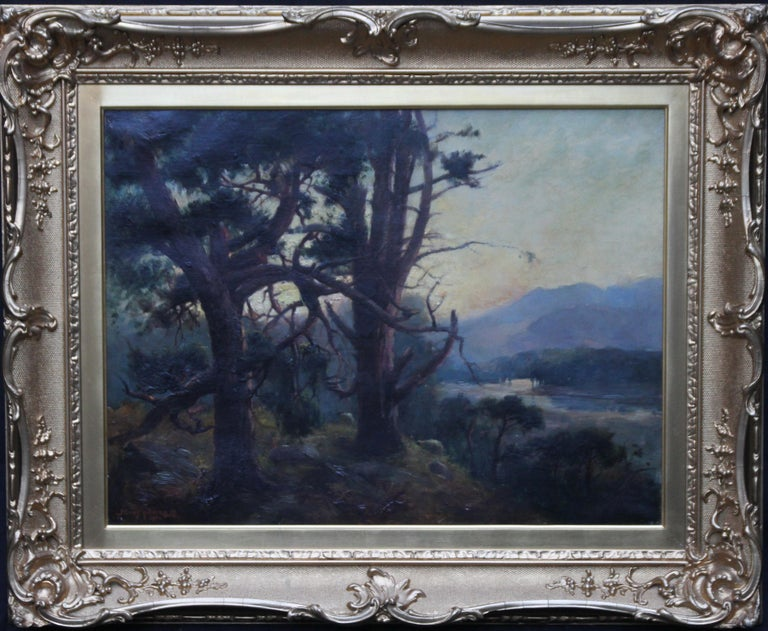 This charming atmospheric oil painting is by Scottish artist Henry Jobson Bell and was painted in 1904. The work depicts a sunset view from pine trees looking down onto a river and more hills in the background. The painting has a very soft