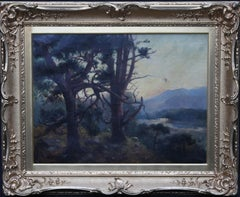 Looking Down From the Woods at Sunset - Scottish Edwardian art oil landscape
