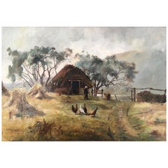 Henry Jobson Bell Scottish Highland Crofter's Cottage Oil on Canvas Signed, 1891