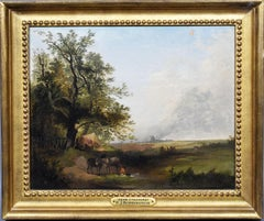 Antique English Bucolic Pastoral Landscape Oil Painting by Henry John Boddington