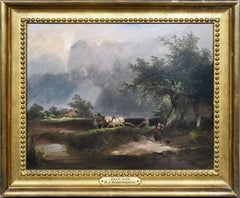 Antique English Pastoral Barbizon Horse Landscape Painting by Henry Boddington