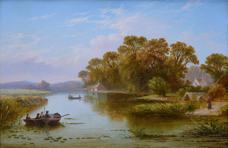 A fine and highly detailed 19th century oil on canvas depicting a woman near a cottage and various figures in punts on 'The Thames near Hampton' by the important Victorian landscape artist Henry John Boddington (1811-1865).     As with all of the