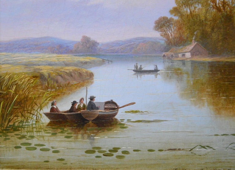 The Thames near Hampton - 19th Century English River Landscape Oil Painting For Sale 1