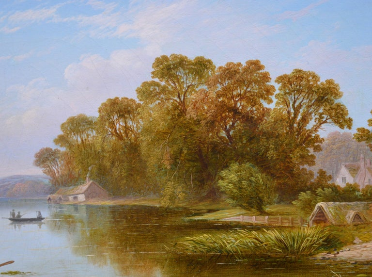 The Thames near Hampton - 19th Century English River Landscape Oil Painting For Sale 2