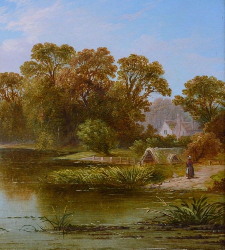 The Thames near Hampton - 19th Century English River Landscape Oil Painting For Sale 3