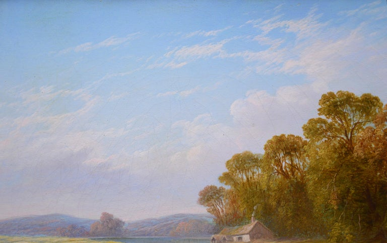 The Thames near Hampton - 19th Century English River Landscape Oil Painting For Sale 4