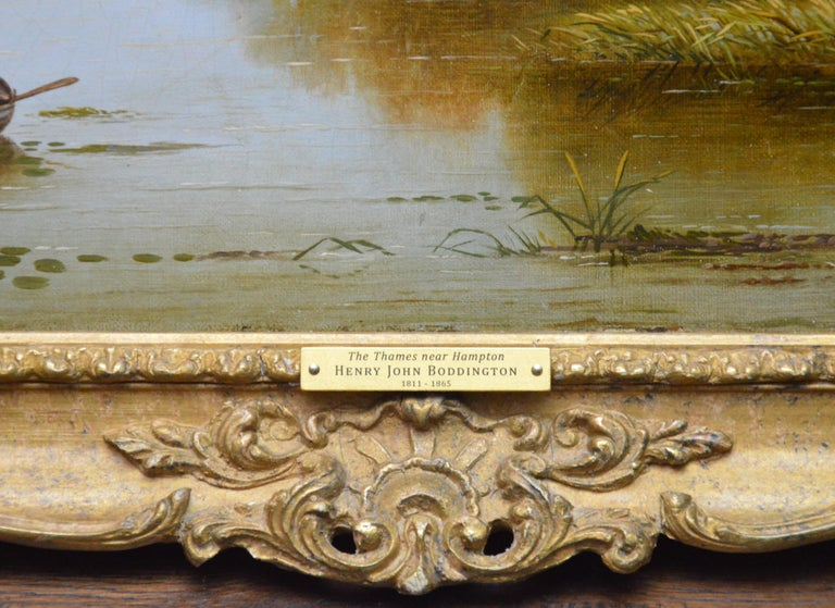 The Thames near Hampton - 19th Century English River Landscape Oil Painting For Sale 5