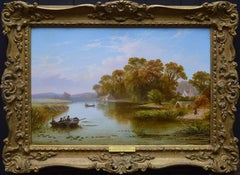 The Thames near Hampton - 19th Century English River Landscape Oil Painting