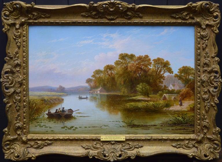 Henry John Boddington Landscape Painting - The Thames near Hampton - 19th Century English River Landscape Oil Painting