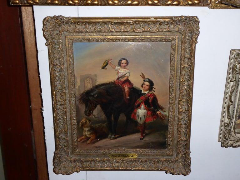 European Henry John Kinnaird Oilon Panel For Sale