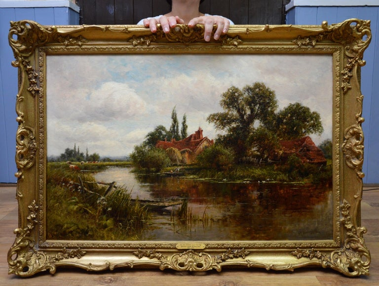 On the Thames at Goring - 19th Century Victorian Landscape Oil Painting - Brown Landscape Painting by Henry John Kinnaird