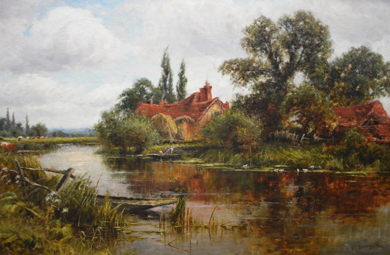 On the Thames at Goring - 19th Century Victorian Landscape Oil Painting For Sale 1